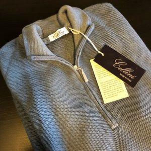 Cellini Italian Blue 1/2 Zip wool Sweater 52
